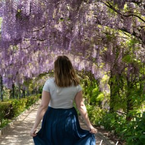 Running through wisteria in Florence, italy before editing