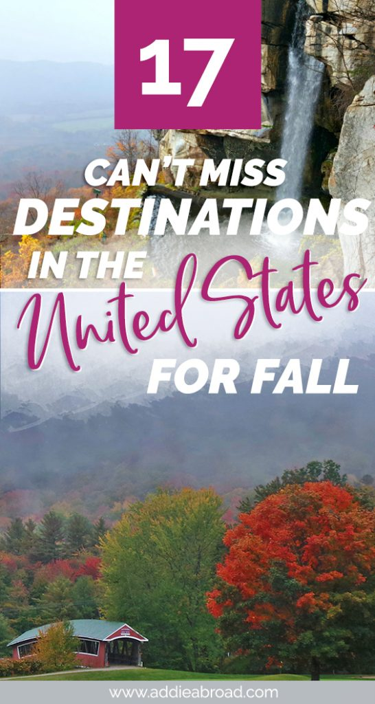 If you're hoping to get some fall travel in, this this guide to the best fall vacations in the US is the place to look. Travel bloggers name the best fall destinations in the United States for fall travel! #usa #unitedstates #travel #fall #autumn