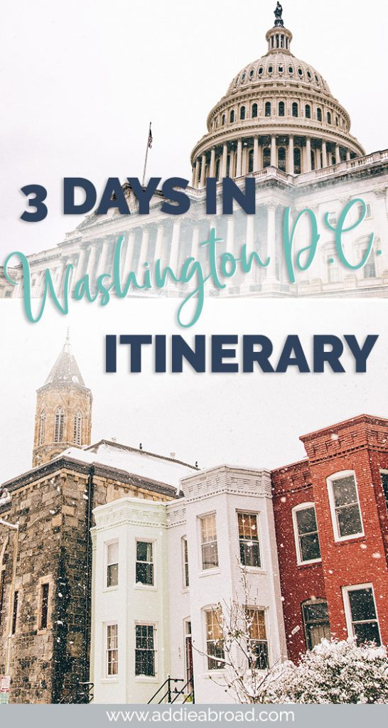 3 days in Washington DC is the perfect amount of time get a taste of everything the city has to offer. Eat good food, visit Georgetown and the Smithsonian Museums, and maybe even see the cherry blossoms! For all the best things to do in Washington DC, check out this Washignton DC itinerary for first timers! #washingtondc #usatravel #travel