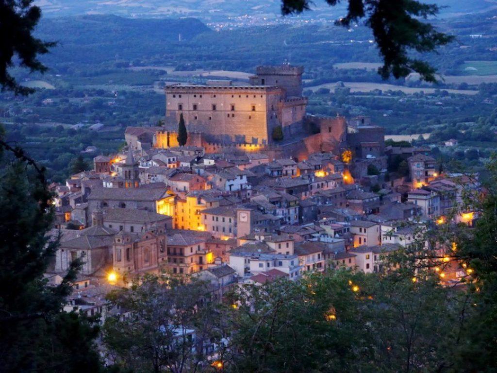 A castle and hillside town in Soriano nel Cimino, Italy