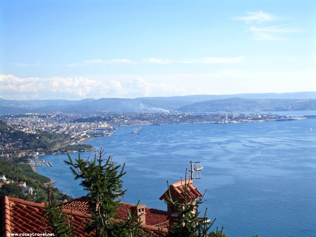 The ocean and town of Trieste, Italy