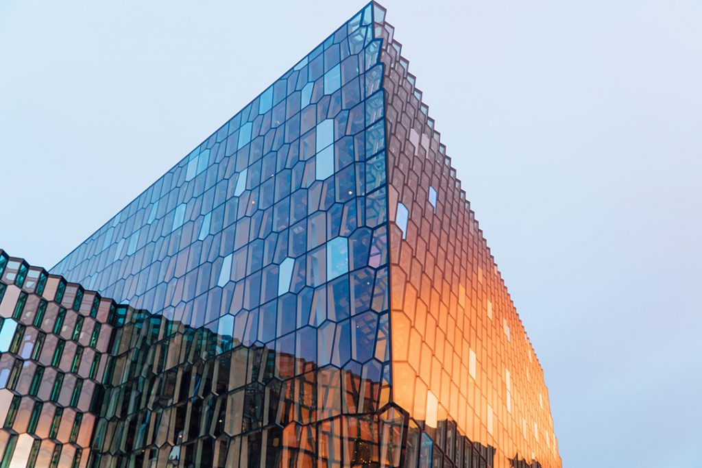 Harpa Concert Hall in Reykjavik in December