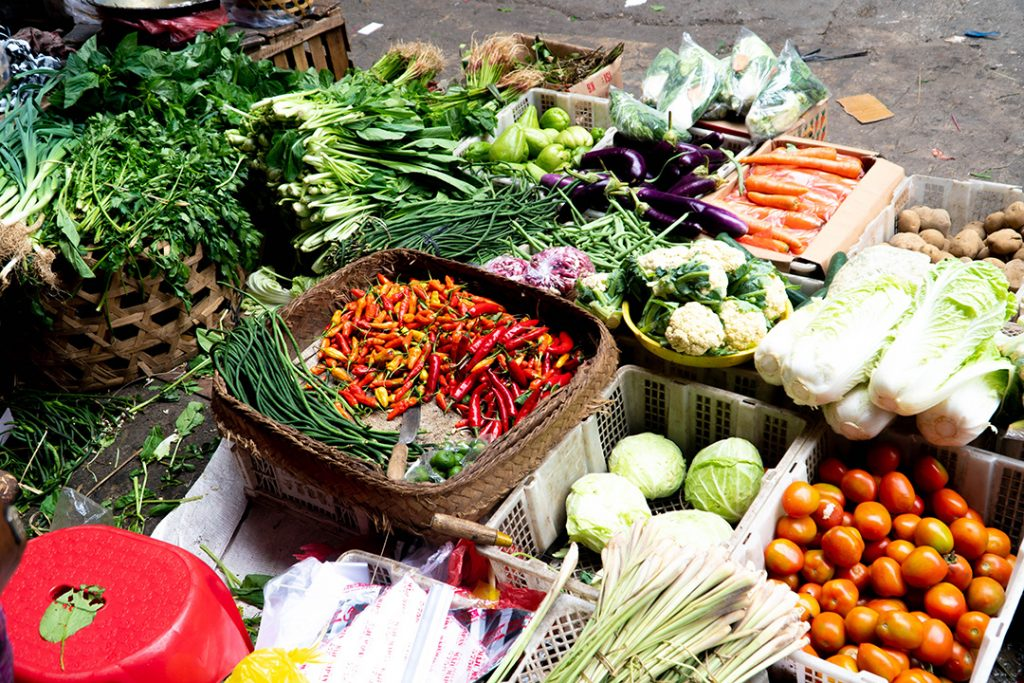 Food at the market in Ubud