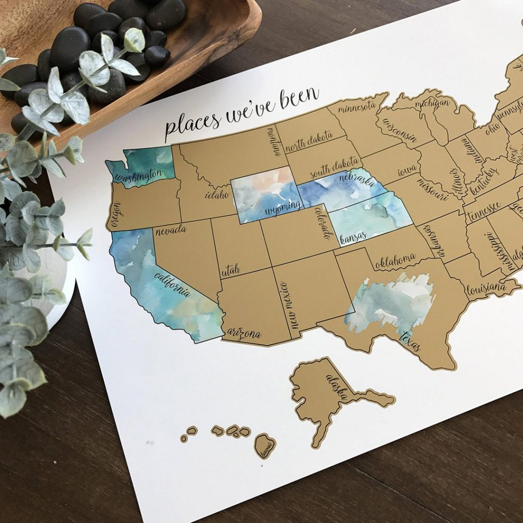 watercolor us scratch off map
