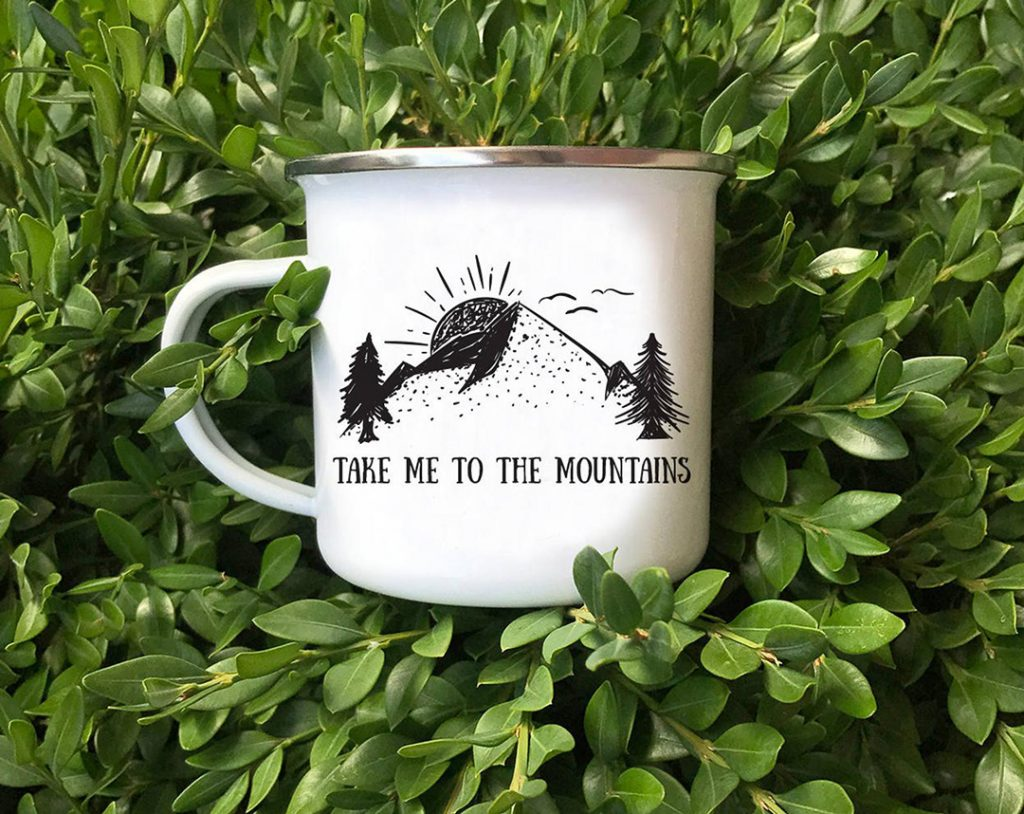 Take me to the mountains camper mug - one of the best travel gifts for her!