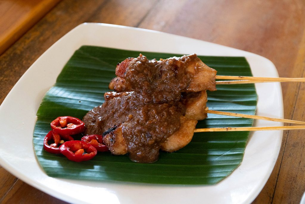 Satay with peanut sauce made at a cooking class, one of the best things to do on your Ubud Itinerary!