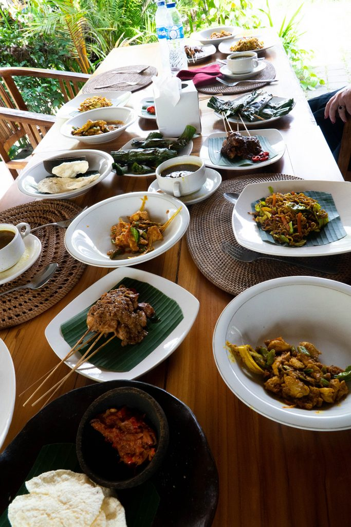 a table filled with food after my Ubud cooking class