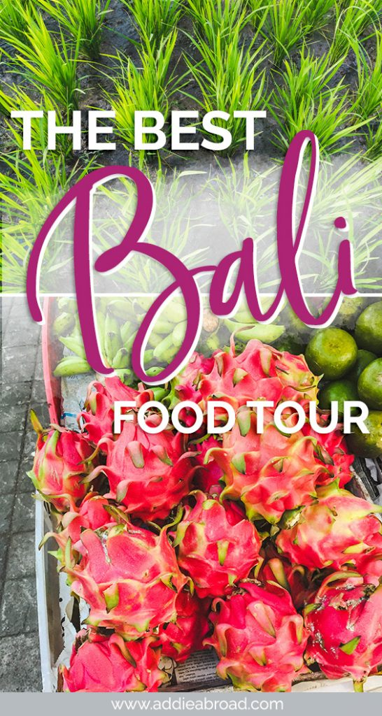 Heading to Bali, Indonesia and want to try some of the best Bali food? You need to head on this food tour with Urban Adventures, which takes you to Bali's most popular eat street, Bali rice terraces, and a local market! Get off-the-beaten-path in Bali and experience the traditional food of Bali! #bali #travel #foodietravel