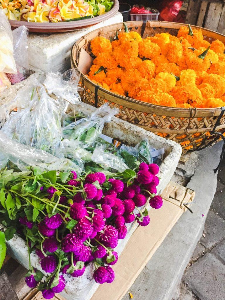 Flowers for offerings in a market in Bali