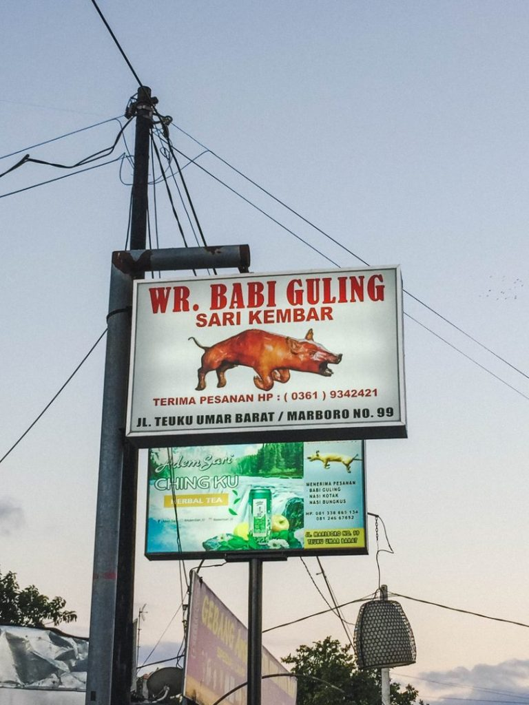 Sign for a warung that serves Babi Guling - our first stop on our Bali food tour