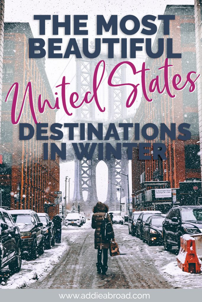 Do you know the best places to visit in the United States? What about in winter? This post has 16 of the most beautiful US travel destinations out there! Click through to find out what they are. #usa #unitedstates #travel #winter | beautiful places to visit in winter in USA