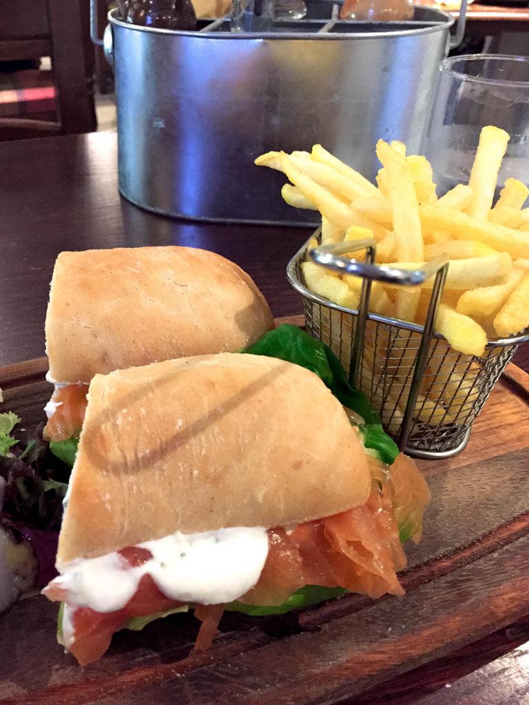 a salmon sandwich