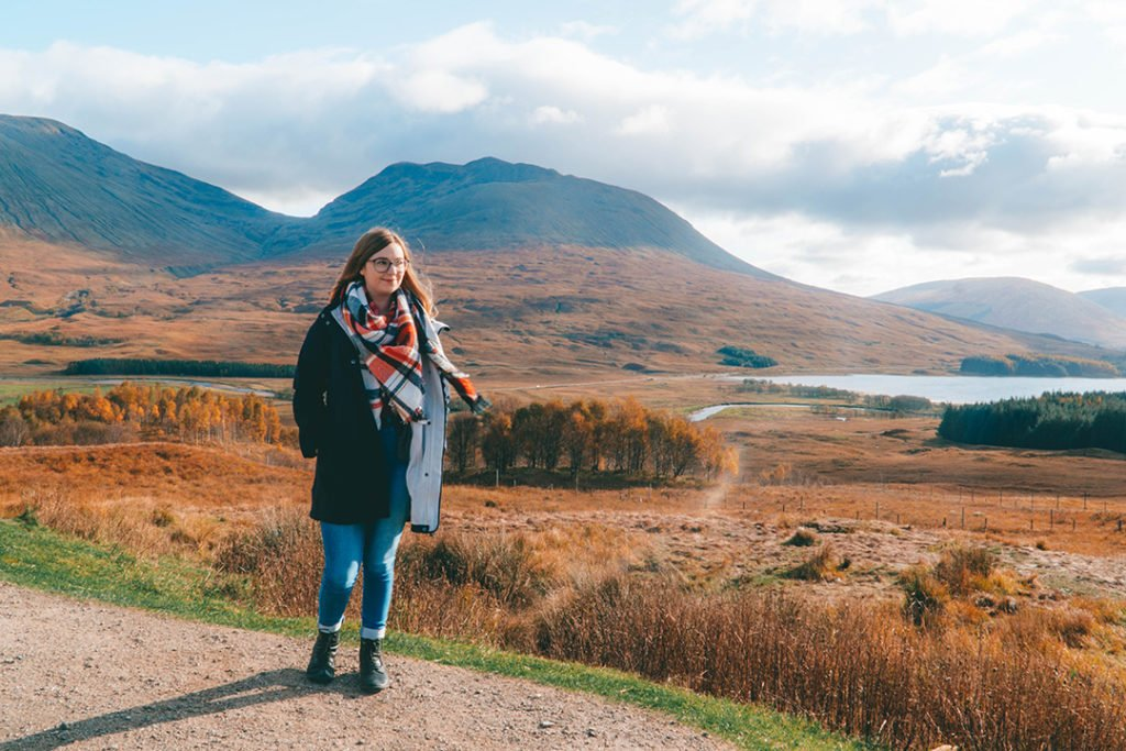 addie standing in front of the rolling hills of Rannoch Moor