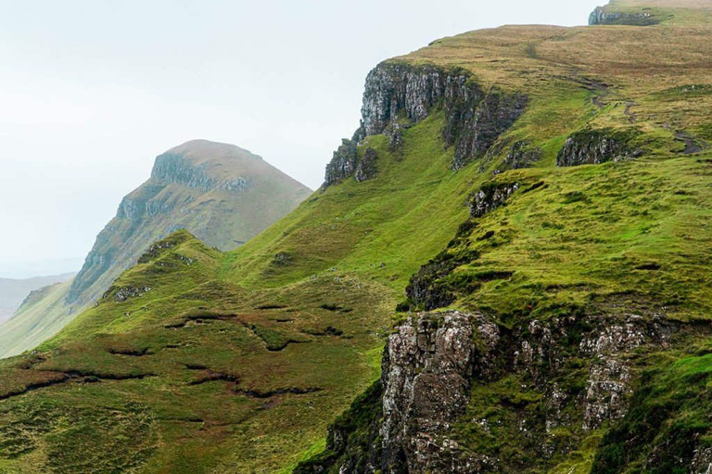 Green hills of the Quiraing, on an Isle of Skye tour from edinburgh