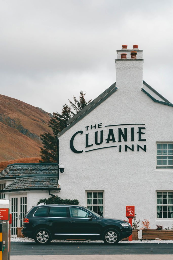 the outside of the cluanie inn