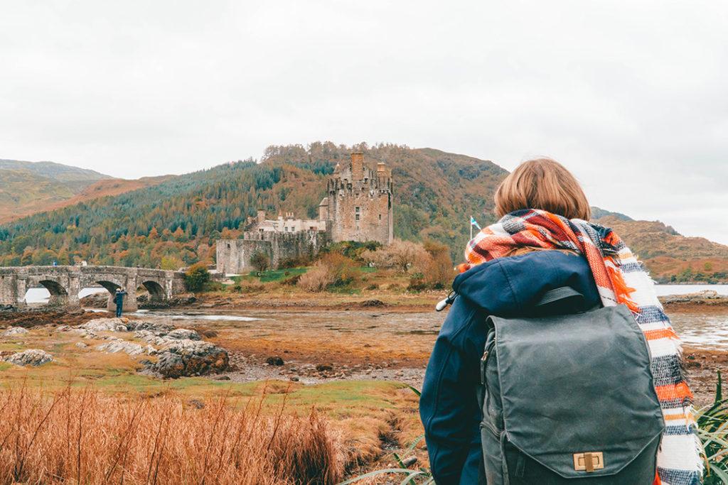addie staring out at eilean donan castle