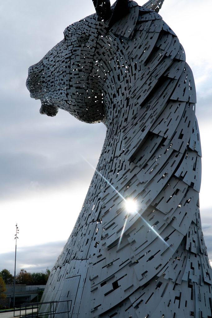 silver horse head statue