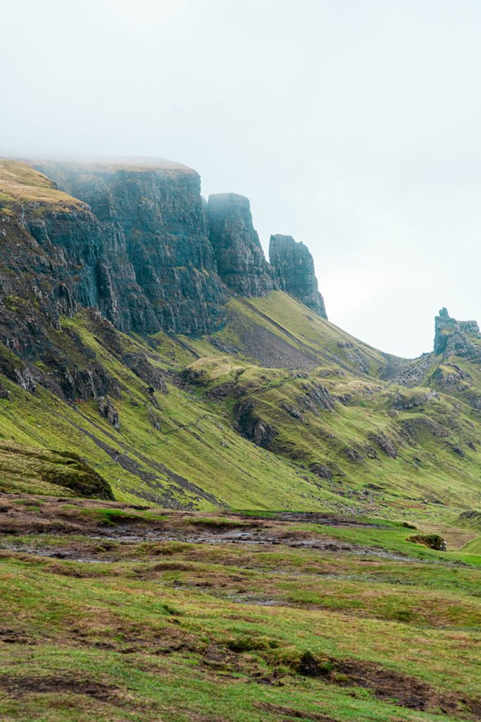 rocky cliffs of the quiraing, isle of skye