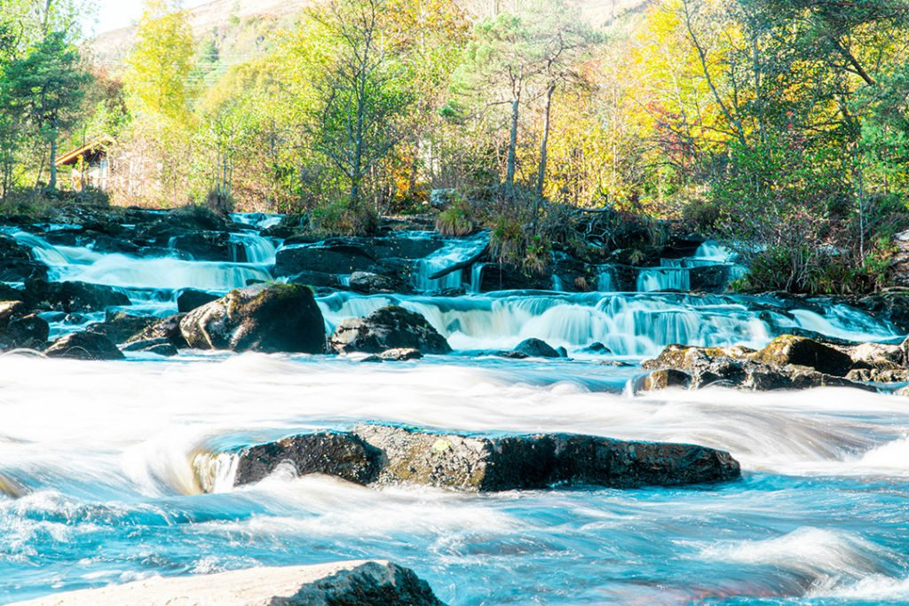 short waterfall over rocks