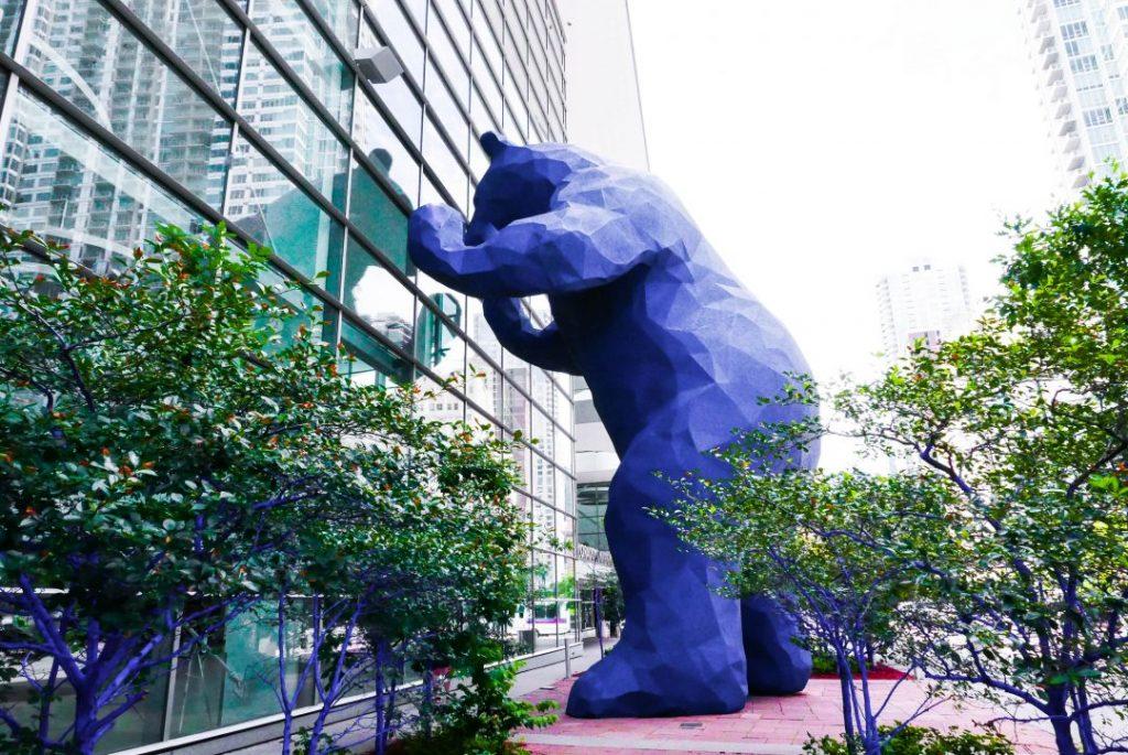 a giant blue bear street art in denver