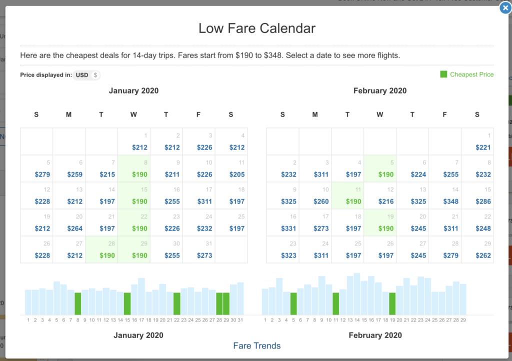 low fare calendar on cheapoair - how to find cheap flights
