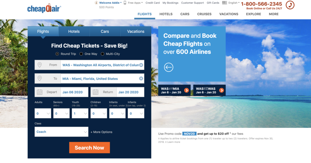 cheapoair homepage - how to find cheap flights with cheapoair