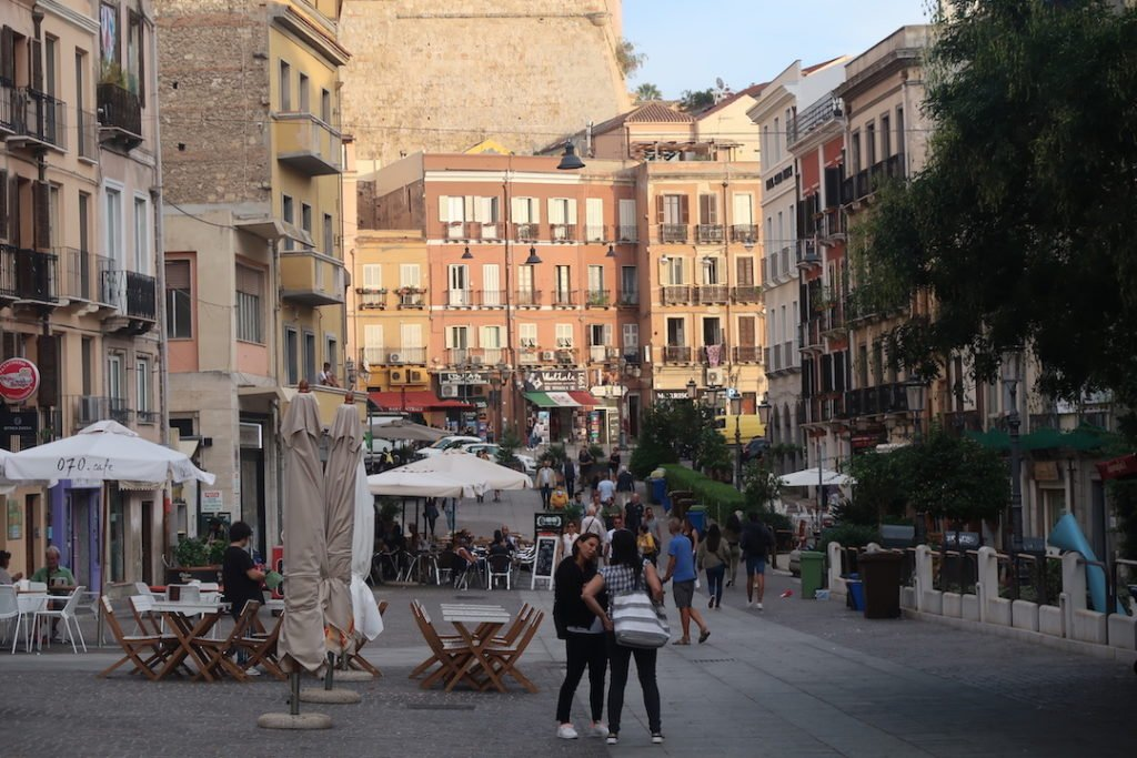 people walking in the streets of Cagliari, Italy