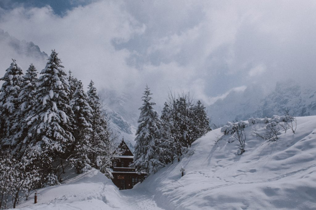 A brown wooden house among snow covered evergreen trees in the mountains of Zakopane, Poland