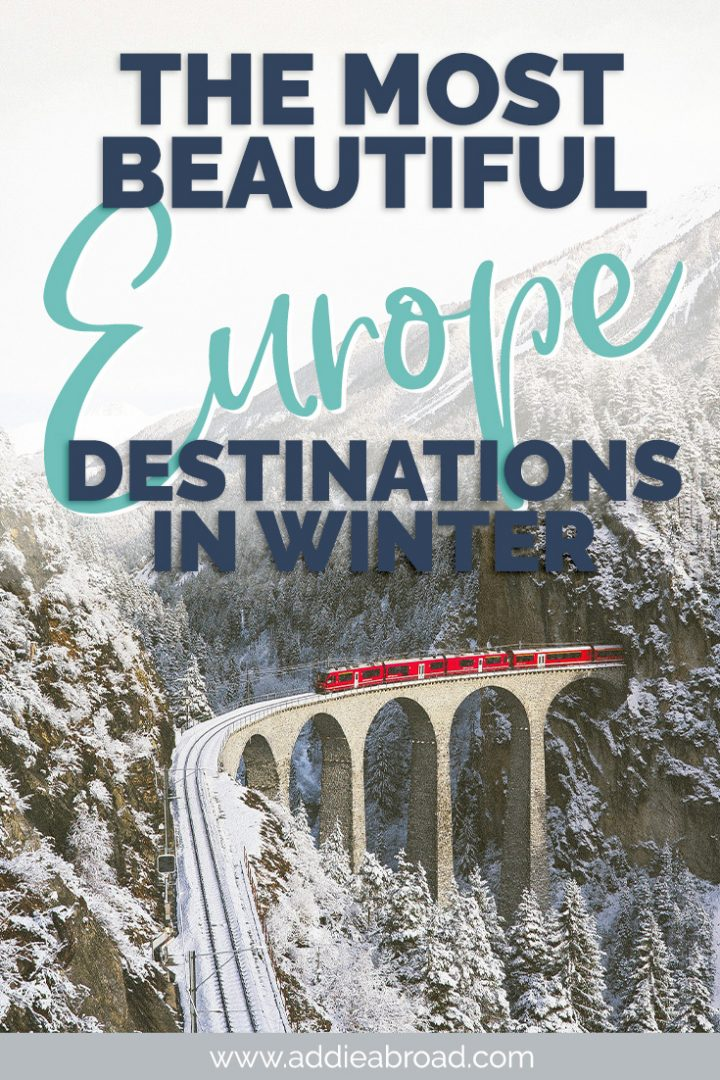 Are you ready for Christmas markets and stunning snowy mountaintops? These 35 winter destinations in Europe are absolute must-sees! See the northern lights in Iceland or catch the winter sun in Sicily. Click through to find out what winter destinations you need to add to your Europe itinerary! #europe #winter #christmas #travel
