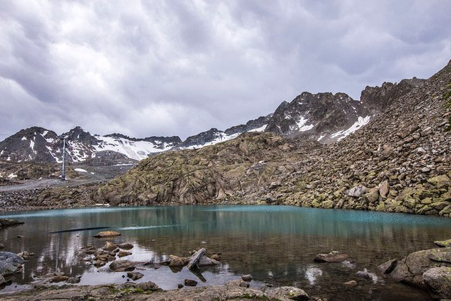 a blue lake in the mountains of Italy