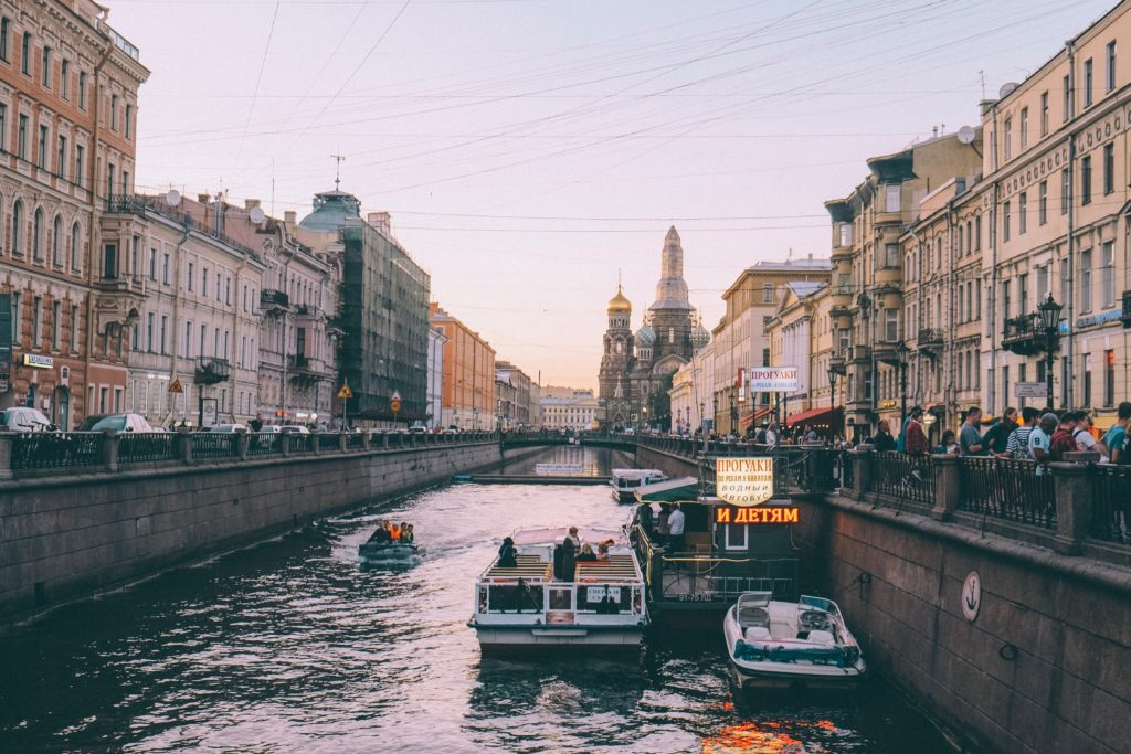 a canal in St Petersburg, Russia, one of the best places to visit in Europe in winter
