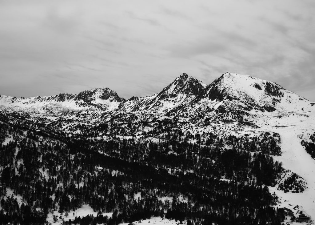 black and white mountain covered with snow in Andorra