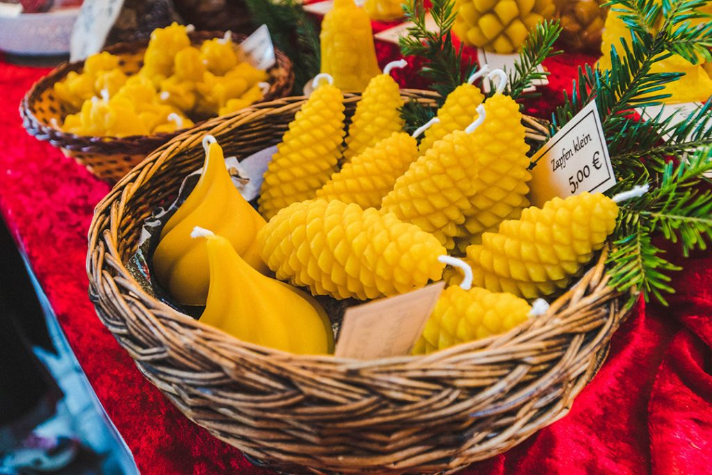 beeswax candles shaped like pinecones