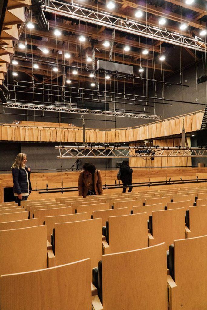 wooden seats in cesis concert hall