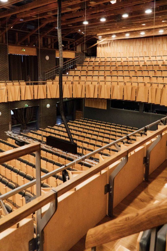 looking down at the audience seats in cesis concert hall from above