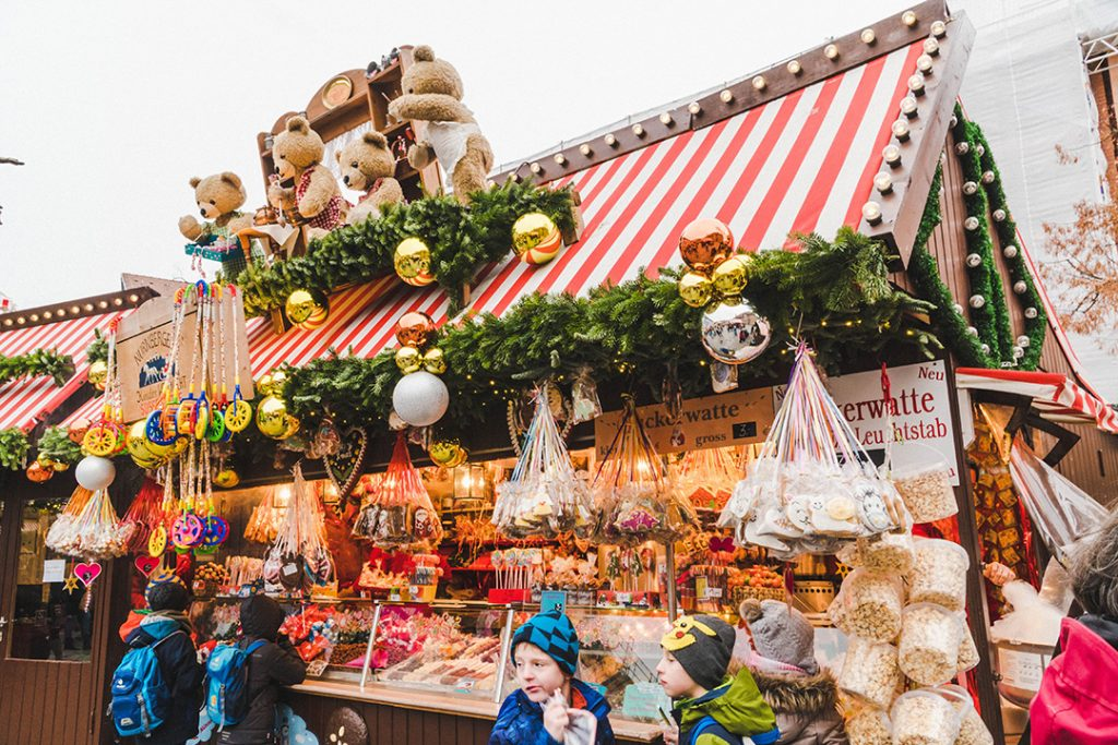 a christmas candy stand at the nuremberg children's christmas market