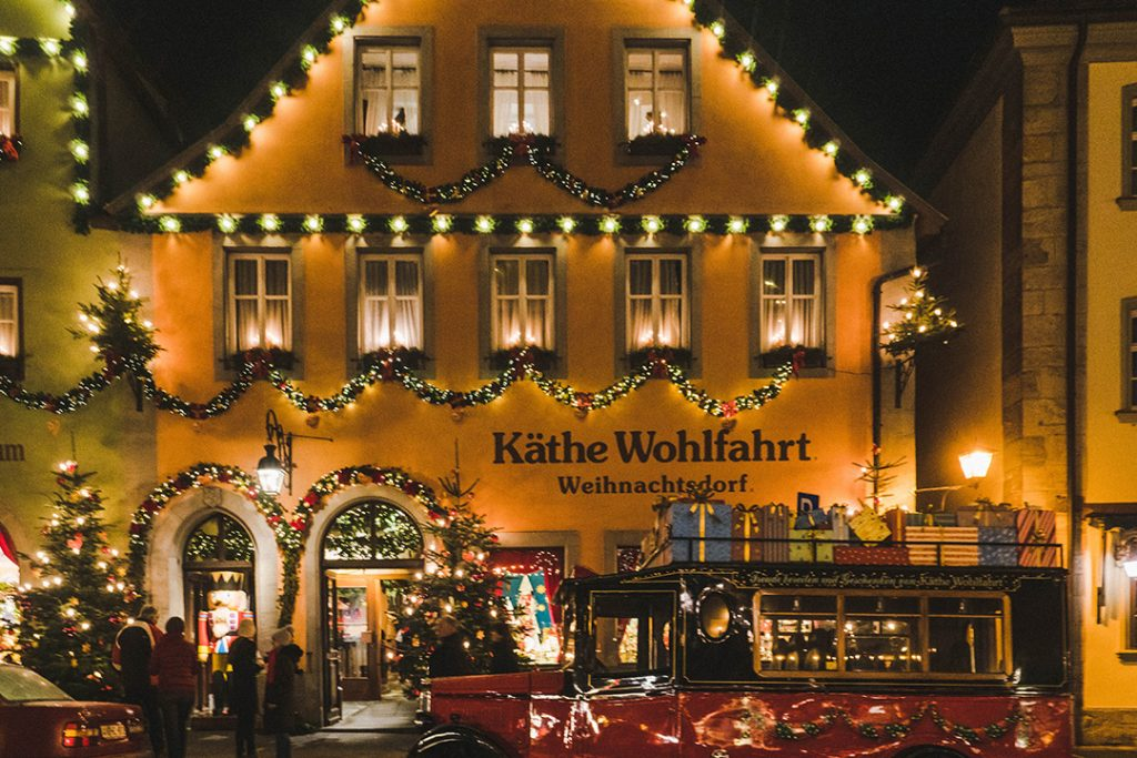 The Käthe Wolfhart store lit up for Christmas