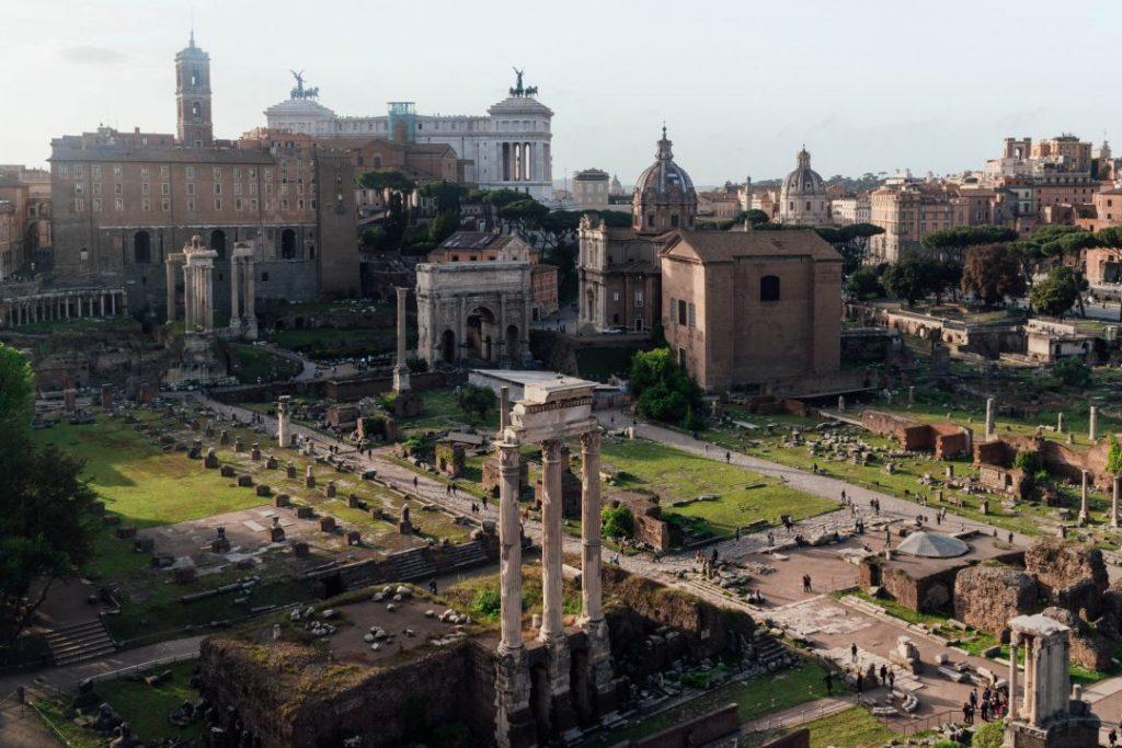 an overhead shot of the roman forum