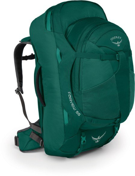 osprey fairview 55l backpack with detachable day pack in green