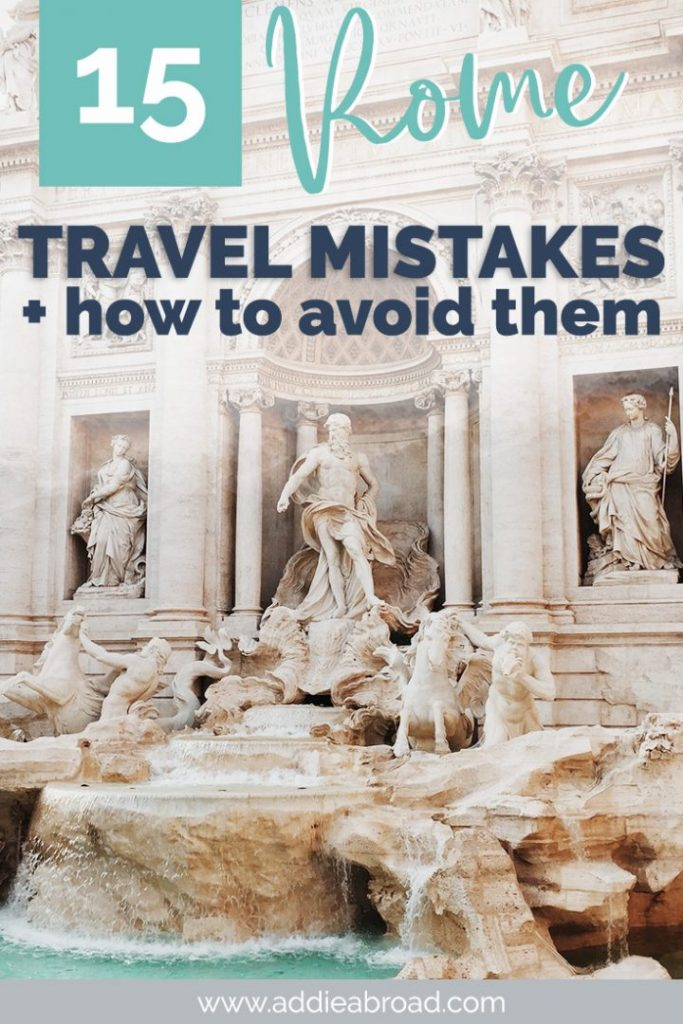 Traveling to Rome, Italy soon? Whether you're looking for the best Rome Instagram spots or ancient things to do in Rome, you don't want to make these Rome travel mistakes! Visit the Colosseum, Roman Forum, Vatican, Trevi Fountain, and more! #rome #italy #travel