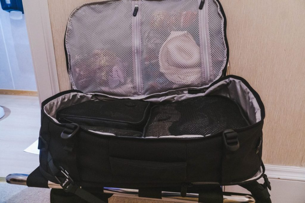 tortuga backpack opened like a suitcase