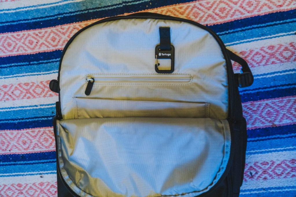 the front pocket of the tortuga setout backpack