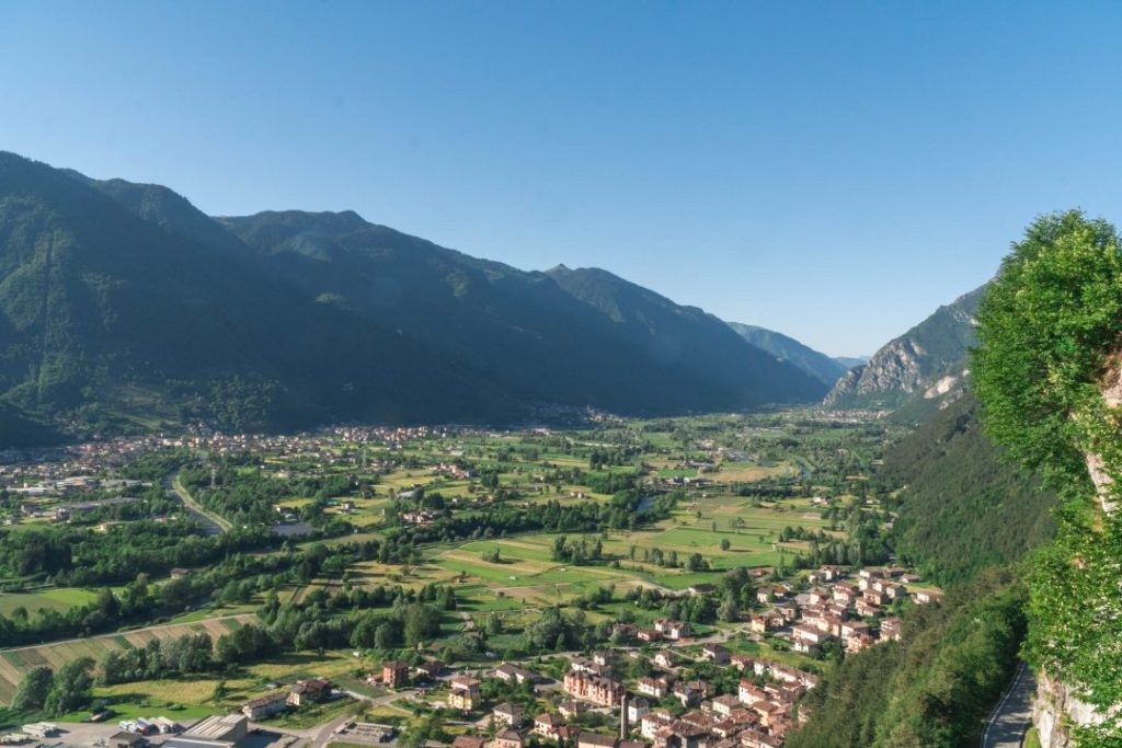 The view of the Valle del Chiese from the Castel San Giovanni di Bondone