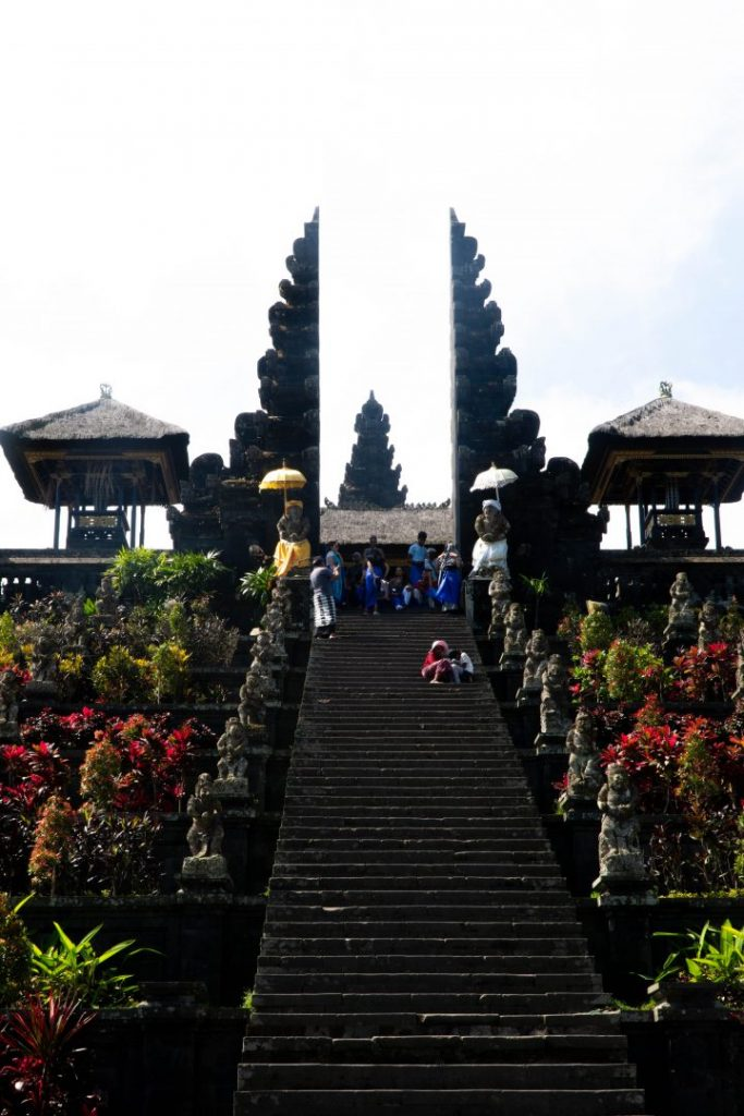 the steps up to besakih temple in bali