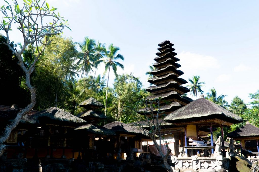 a tiered temple roof in Bali