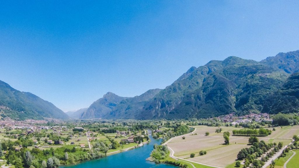 Lake Idro and the Valle del Chiese as seen from a paraglider