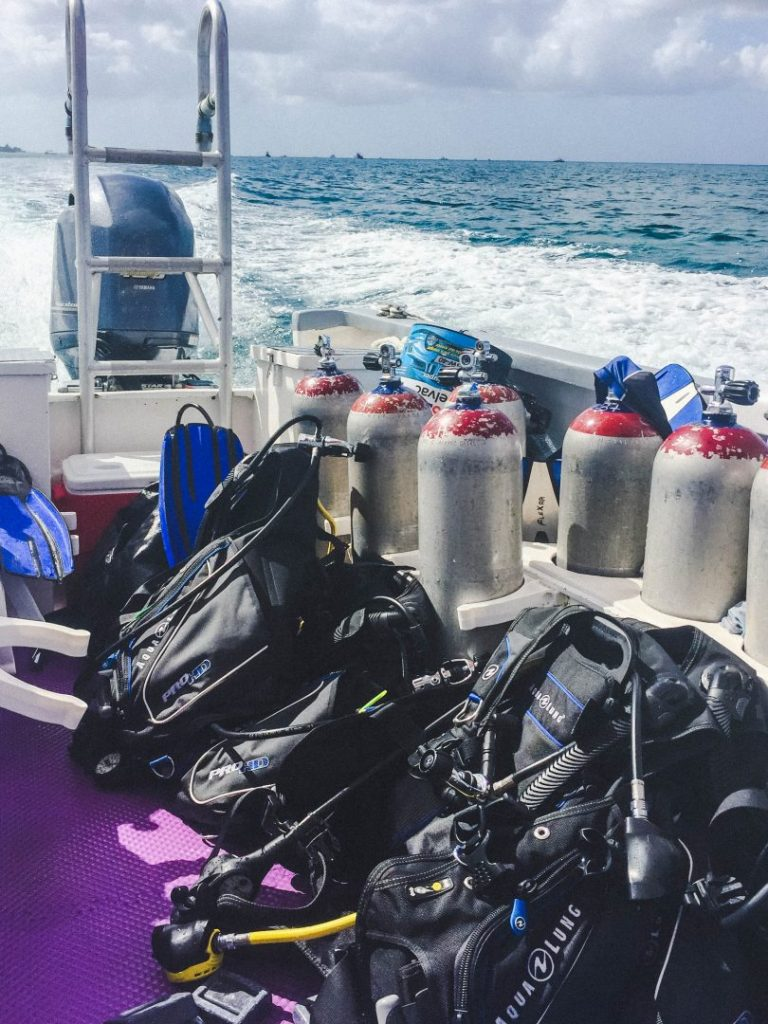 bcds and scuba tanks lined up at the back of a dive boat