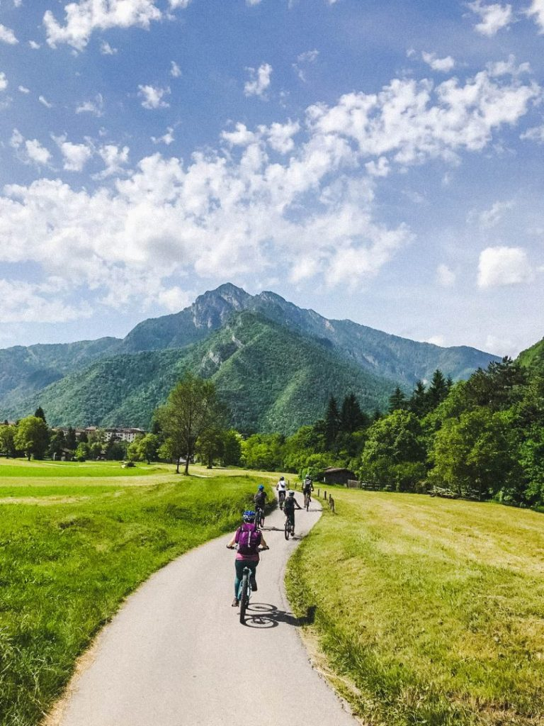 mountain biking through valle di ledro, italy