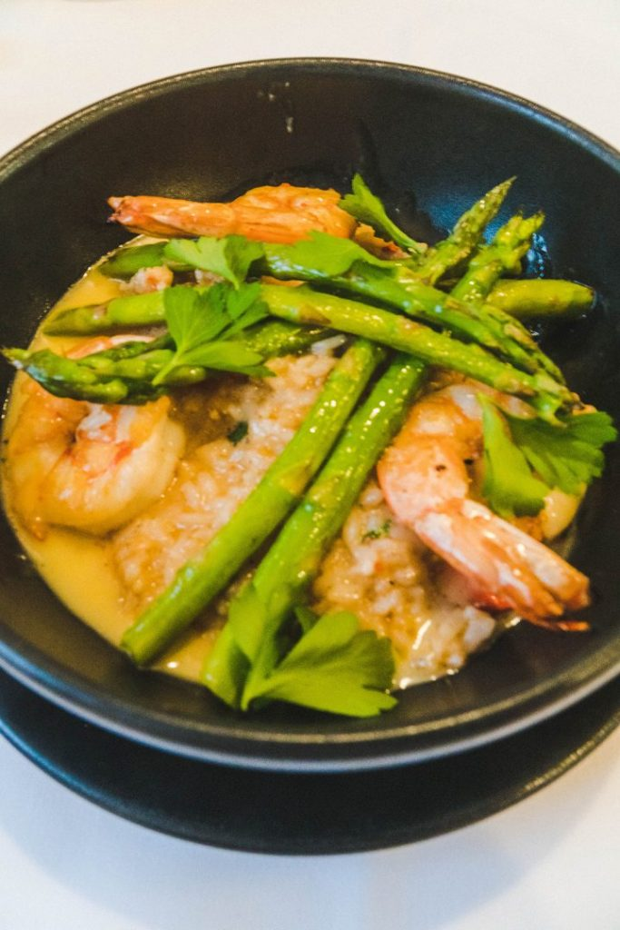 lobster risotto with asparagus on top
