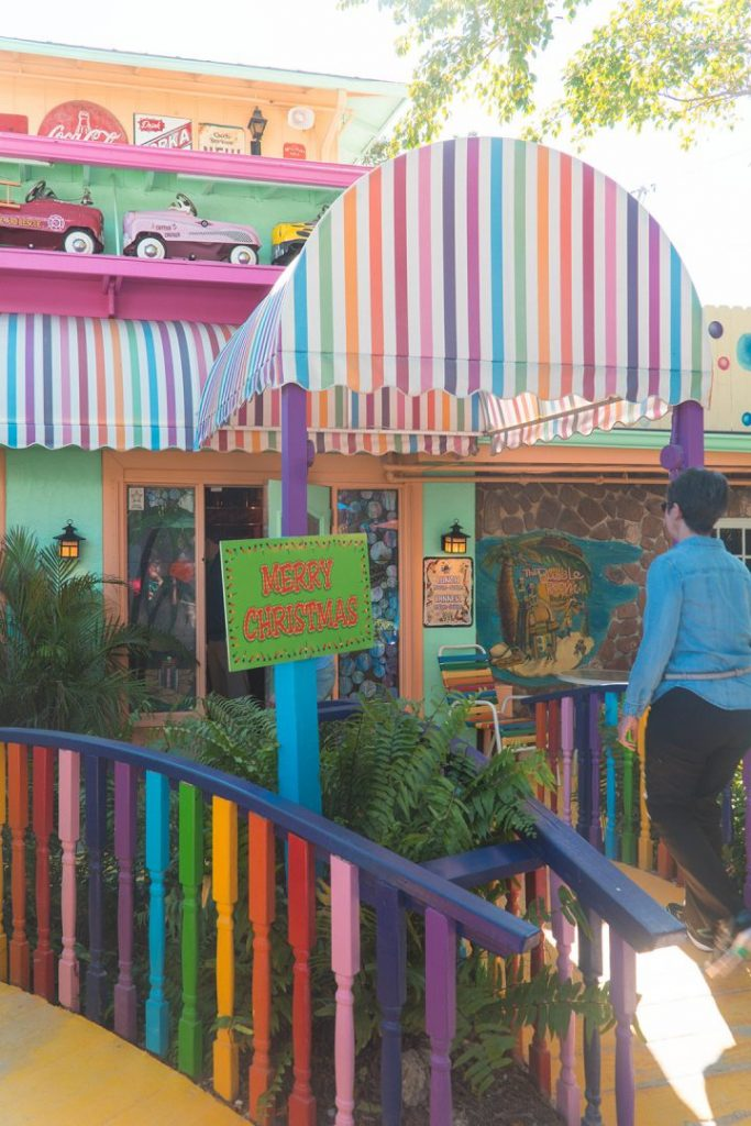 rainbow awning and bridge at the entrance to the bubble room